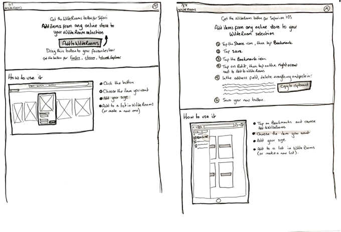 Example sketched wireframes