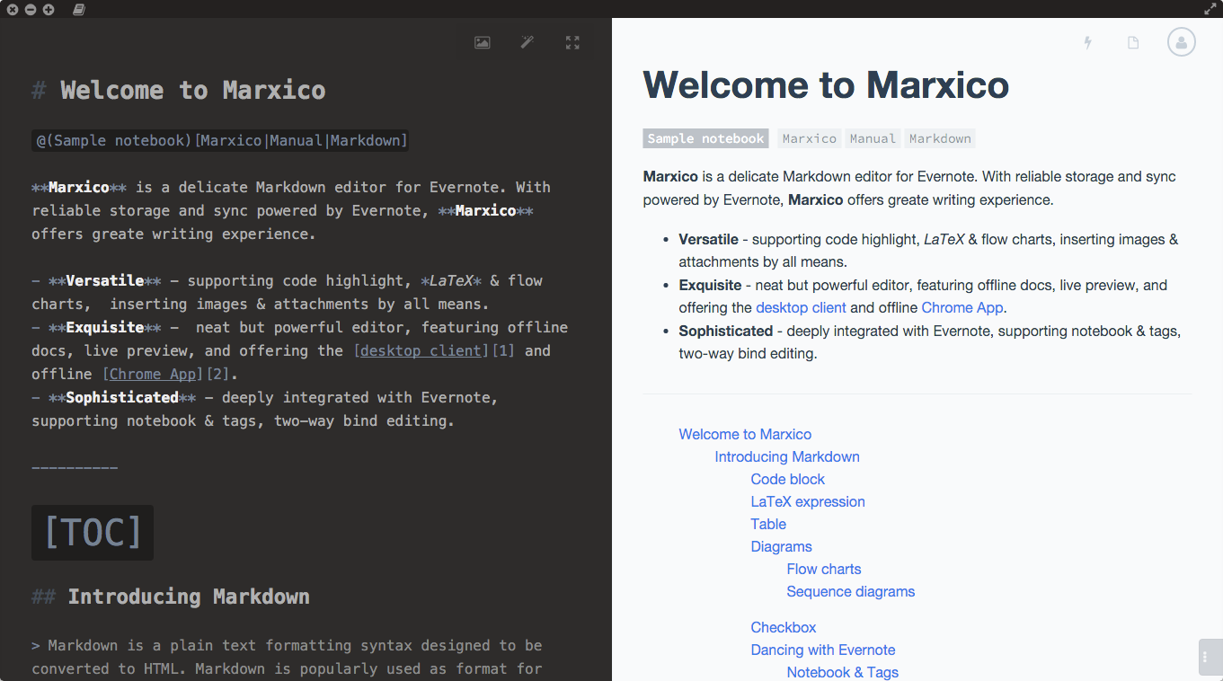 Marxico is a handy markdown editor for Evernote