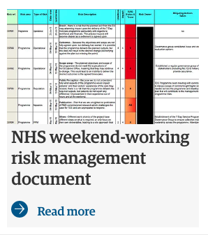 NHS weekend working risk management document