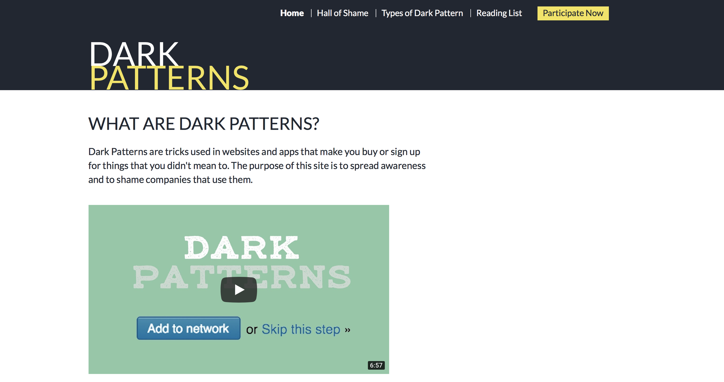 DarkPatterns.org - Hall of shame and a spotters guide.