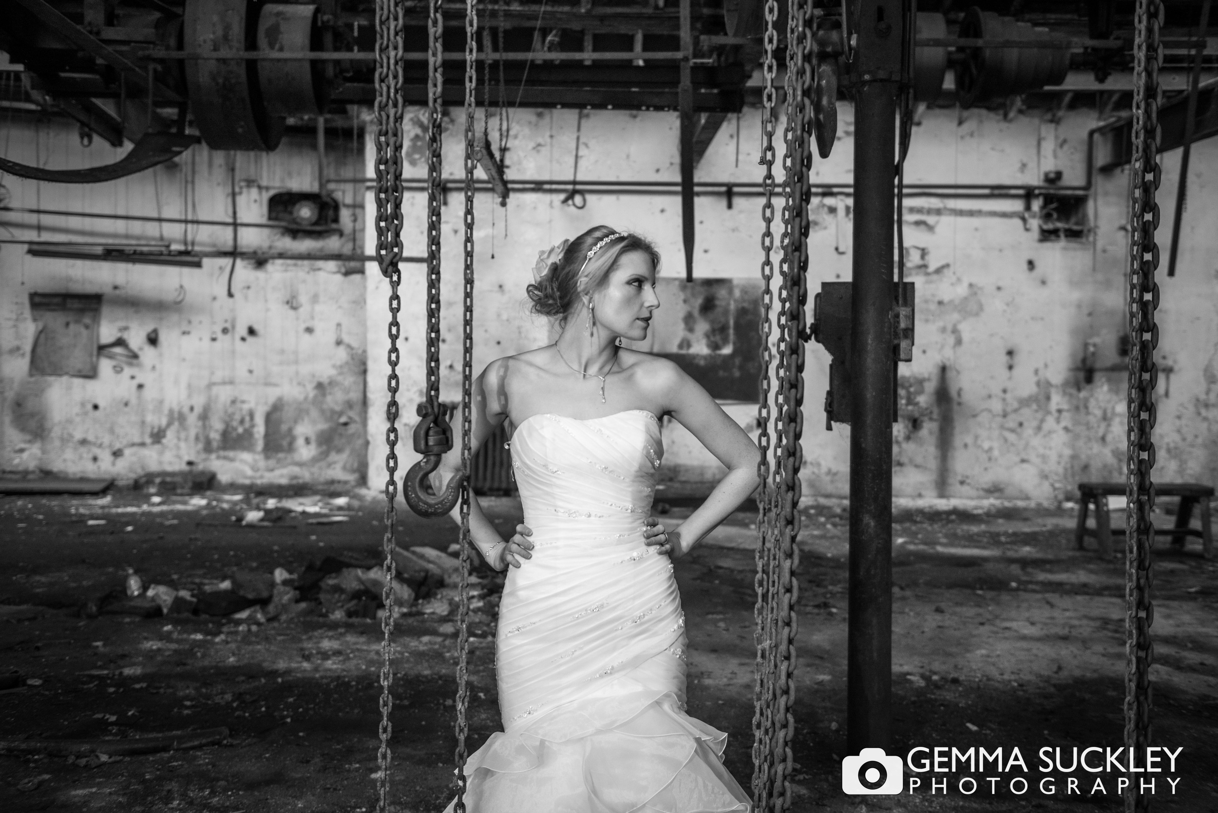 frock the frock photo shoot of a bride in a abandoned mill
