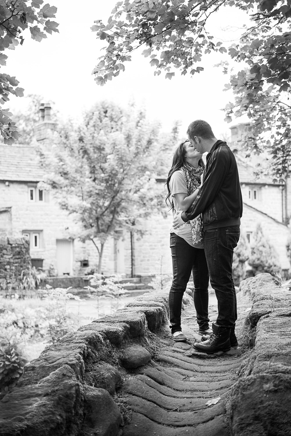 Copy of couple at Wycoller Village on pre-wedding photo shoot