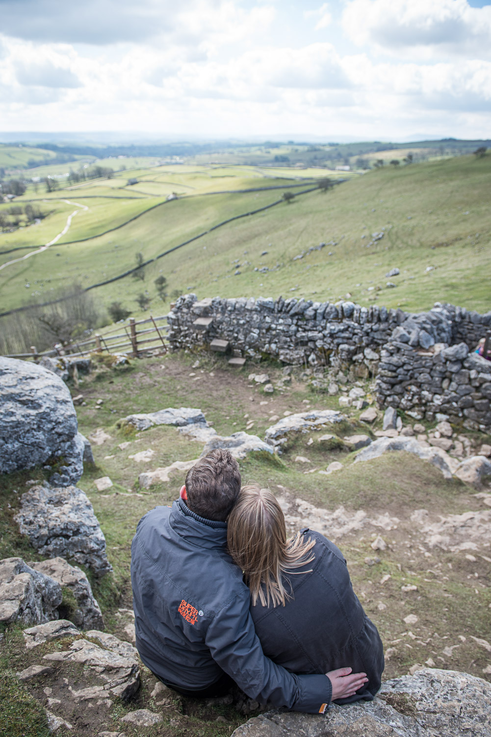 Copy of bride and groom to be looking at the view on Malham