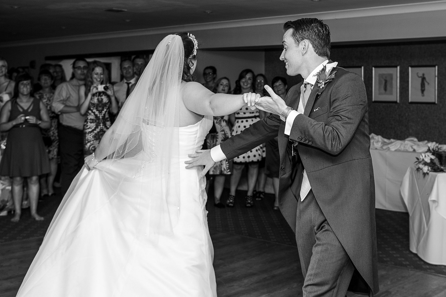 Copy of wedding photo of the first dance at the bridge hotel in wetherby