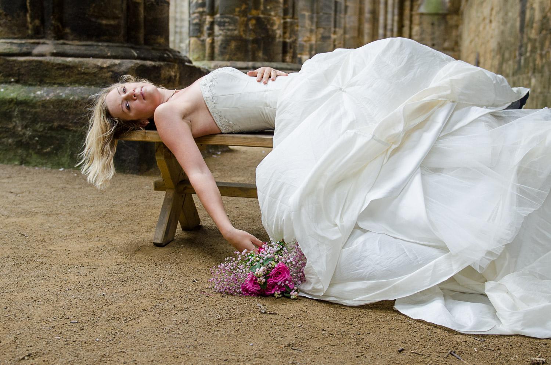 bride portrait at kirkstall abbey