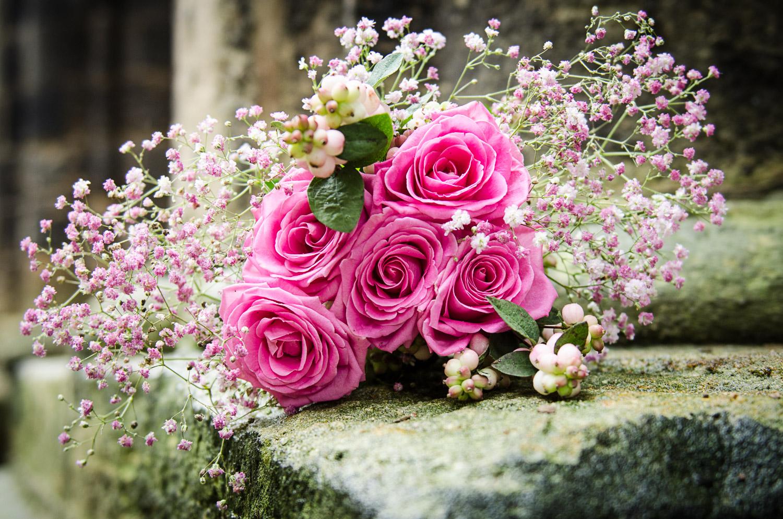wedding bouquet at Kirkstall abbey
