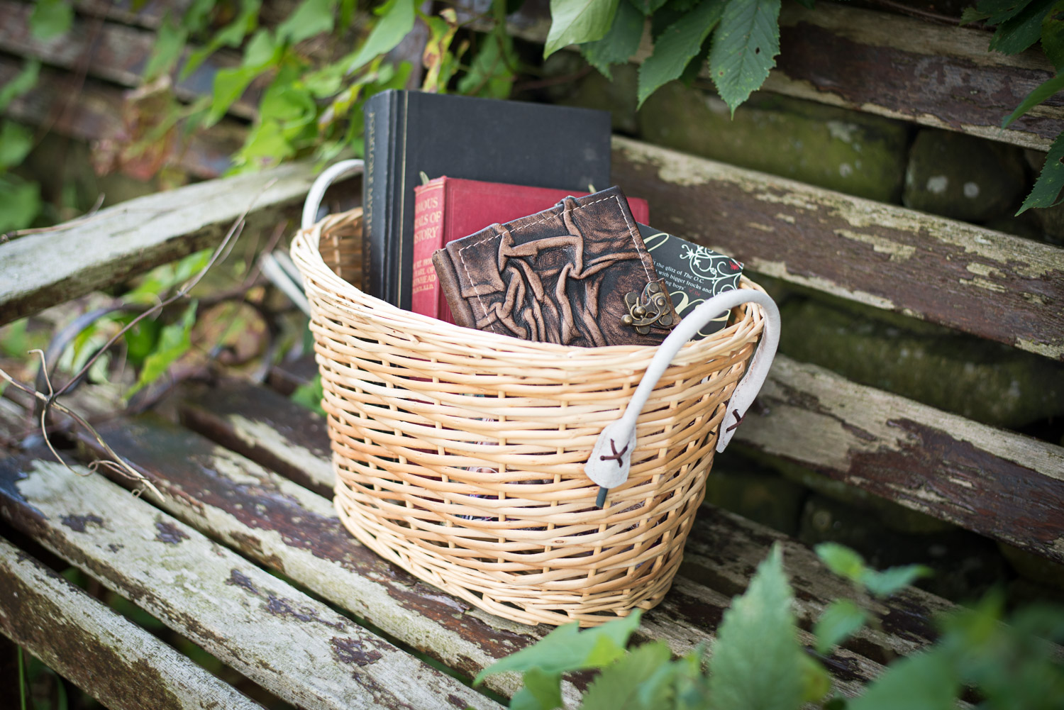 basket of book for a styled photo shoot in haworth