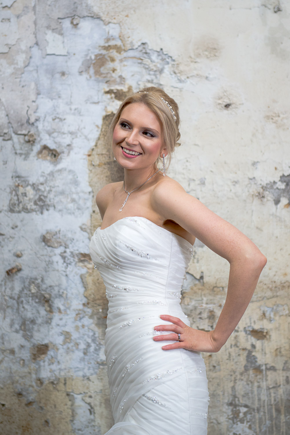 styled photography of a bride in menston