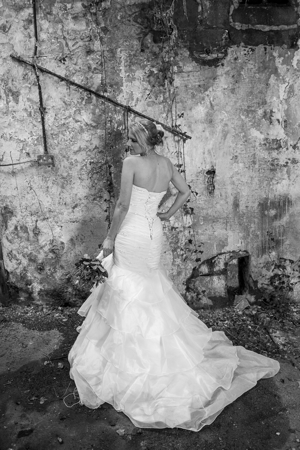 posed photo of a bride in menston abandoned mill