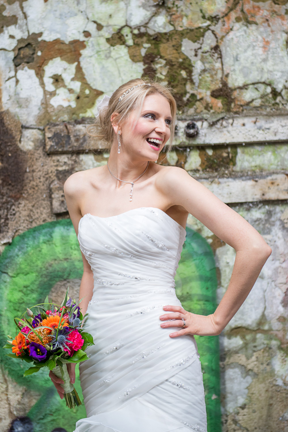 bride posed in an abandoned building in menston