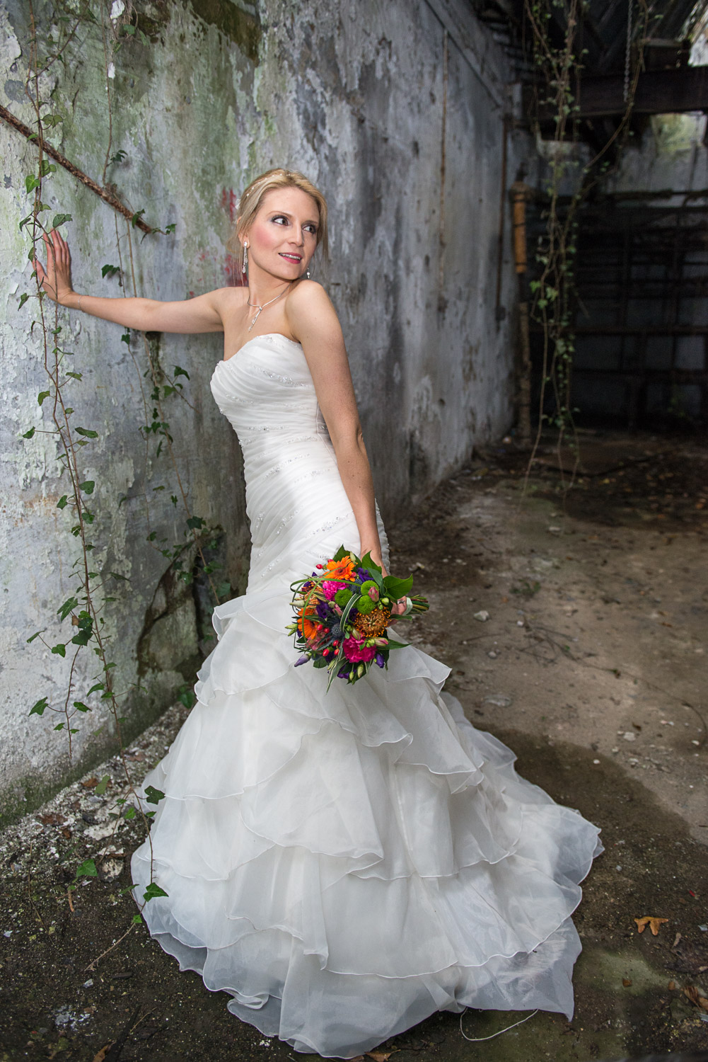 bride posed in an abandoned building in Leeds