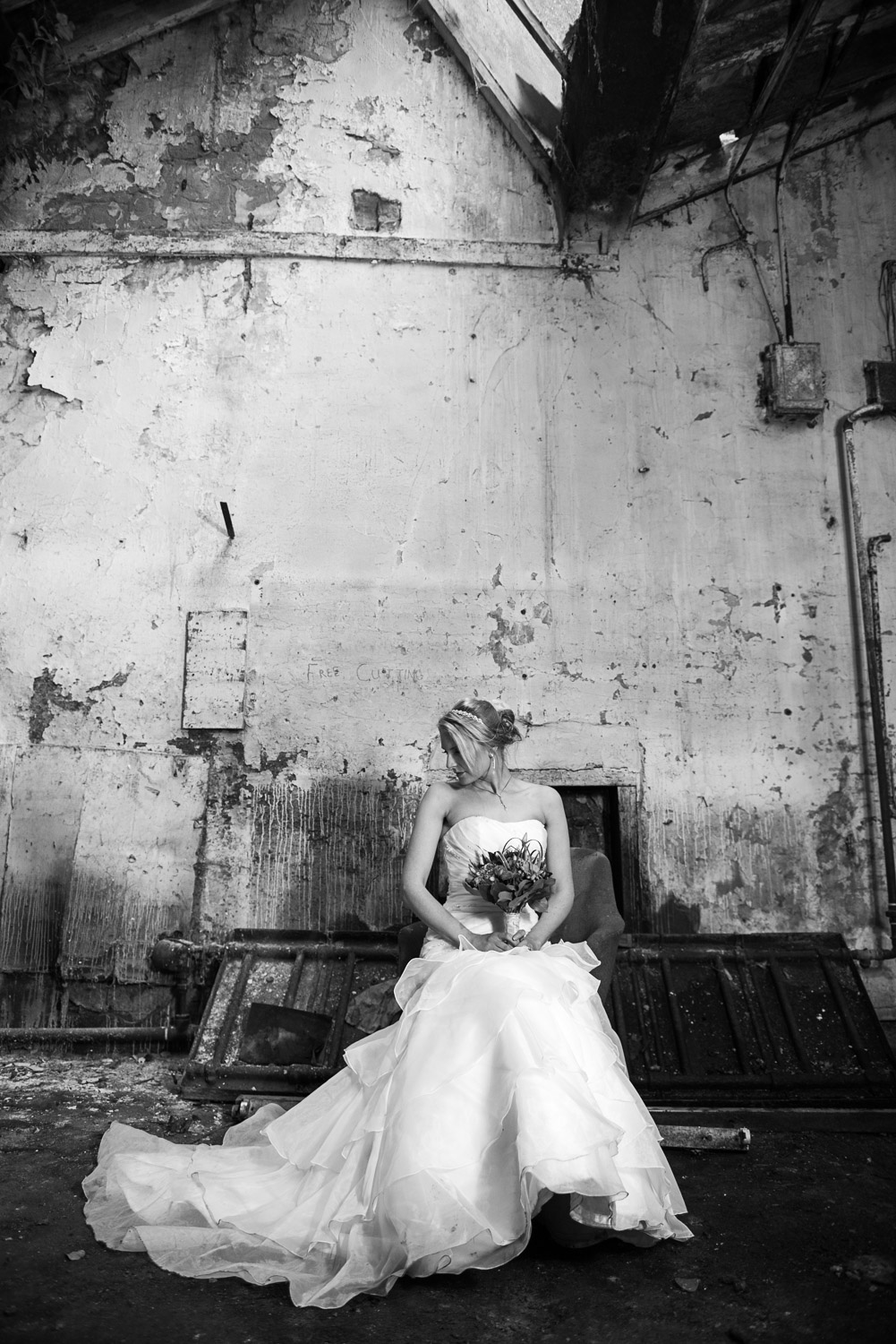 styled bridal photo of a bride in menston