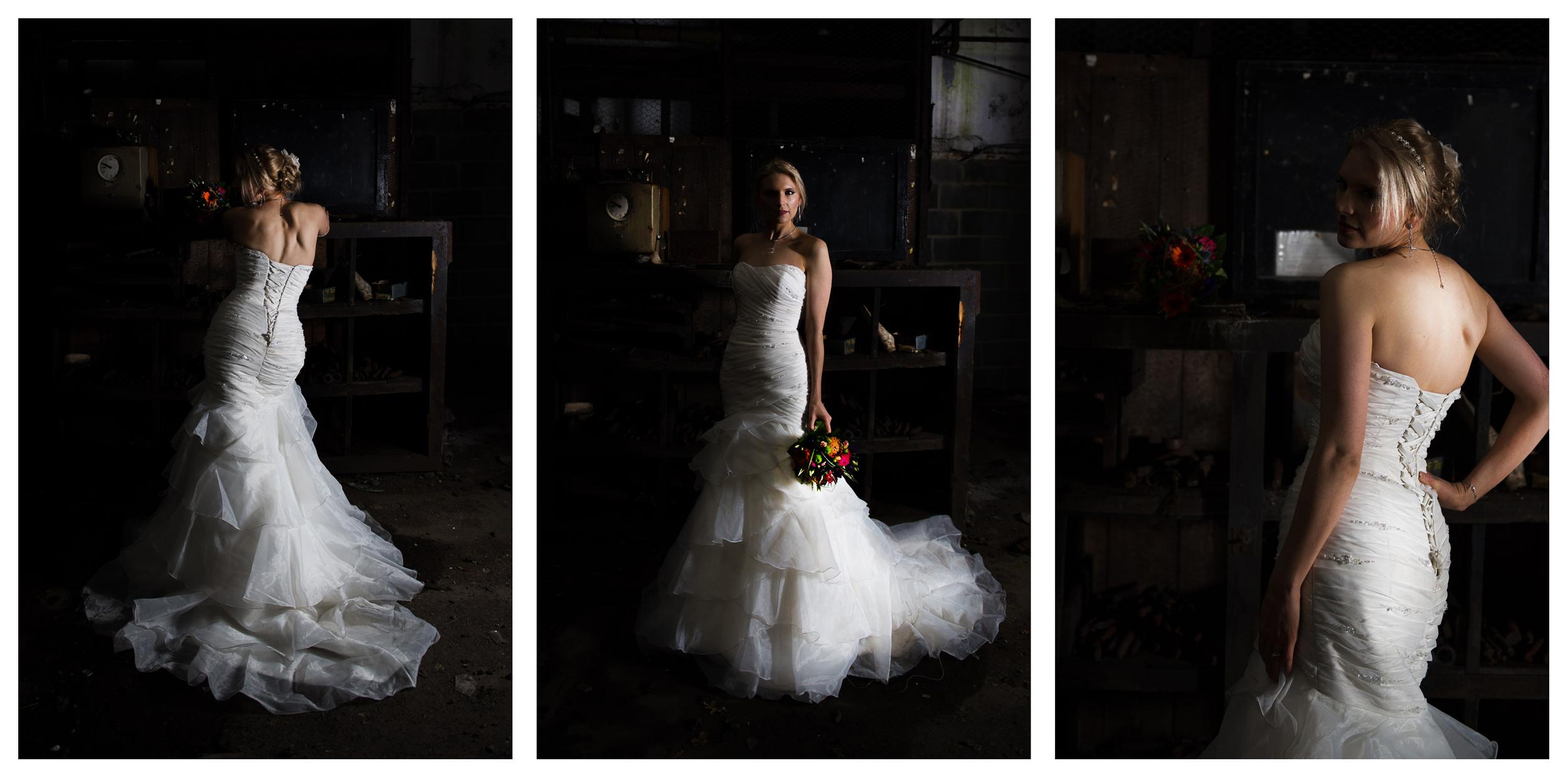 dramatic lighting on bride photography