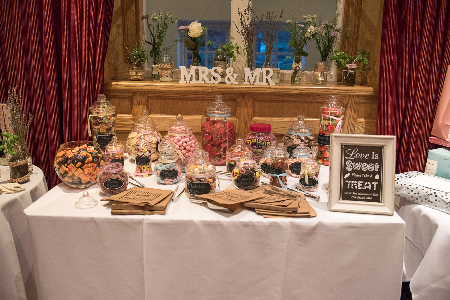 Wedding candy table at Devonshire Arms wedding venue in Bolton Abbey
