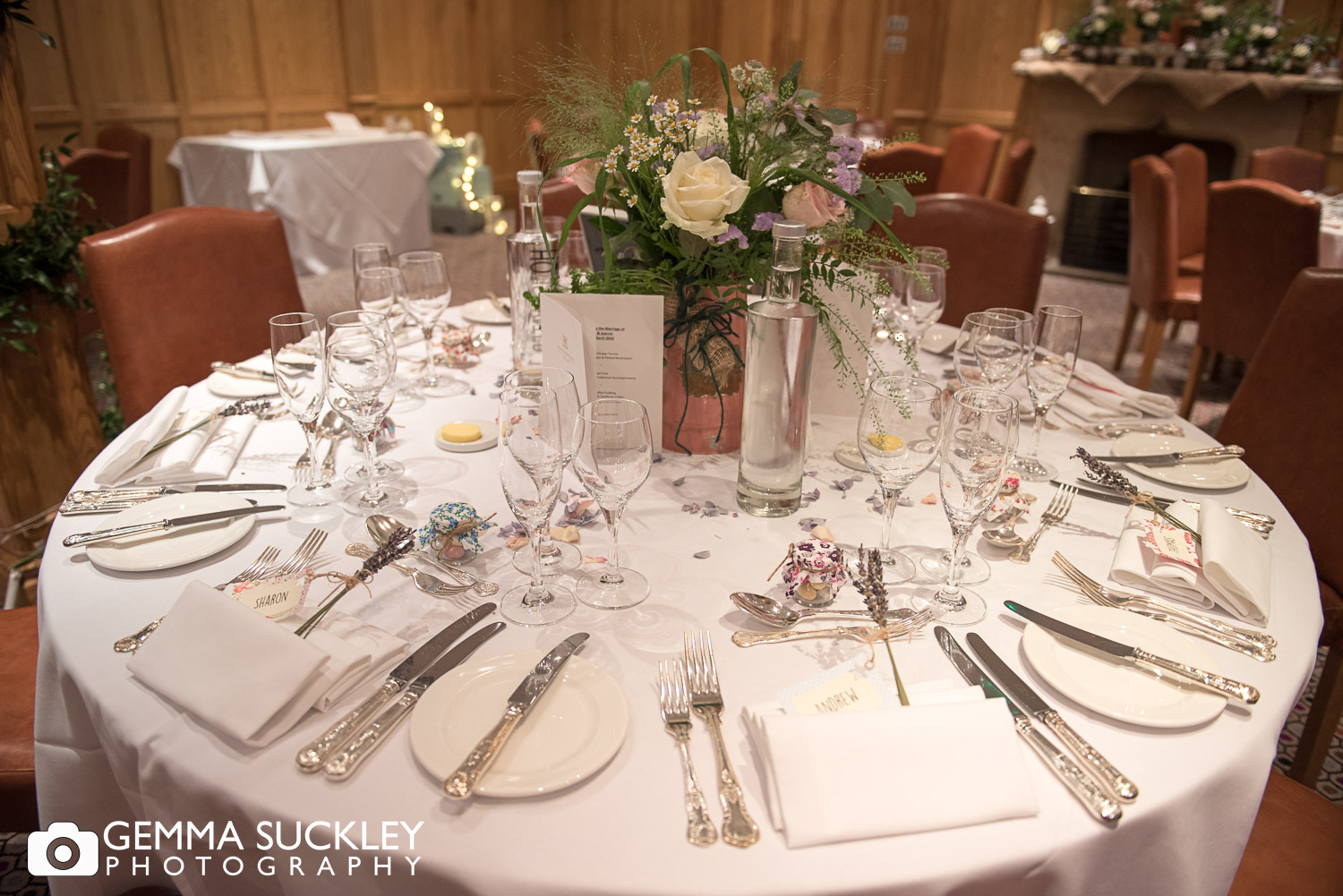 Devonshire Arms in Bolton Abbey wedding table decorations
