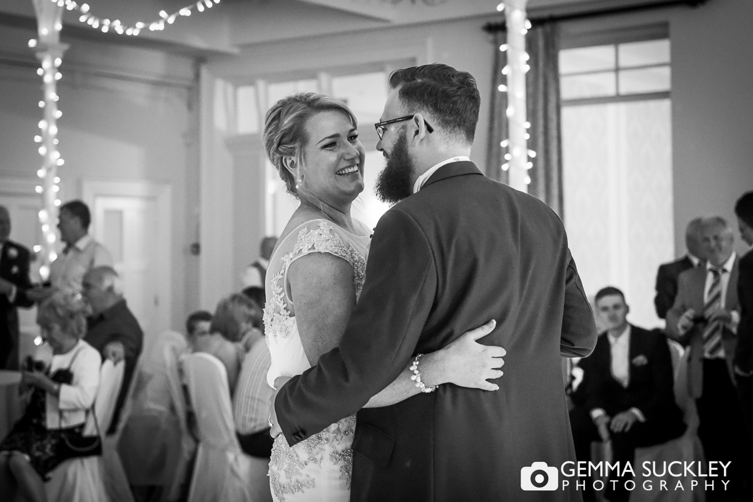 wedding photography at the Old Swan of the couple dancing