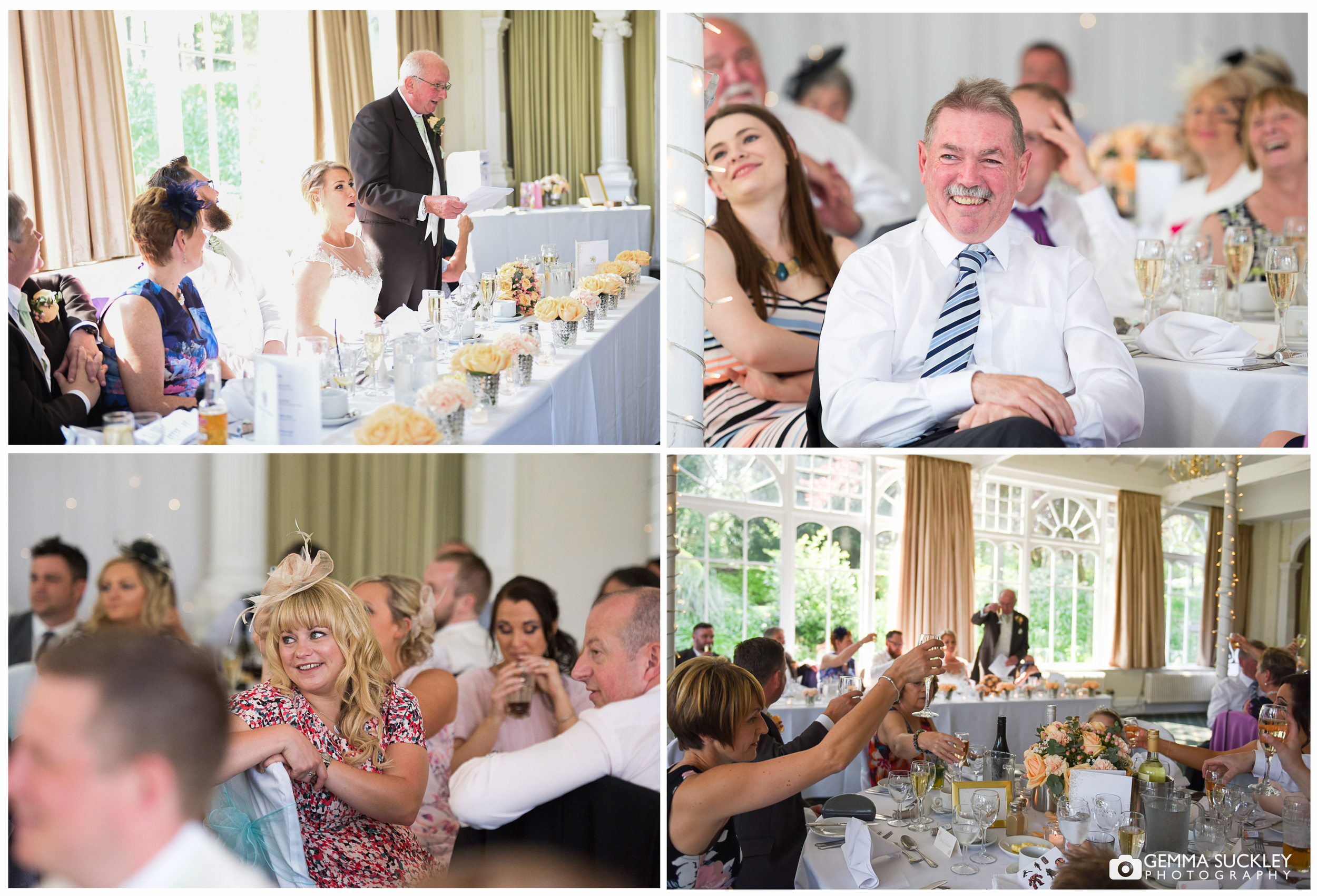 Wedding guests laughing at speeches during the wedding at Old Swan in harrogate