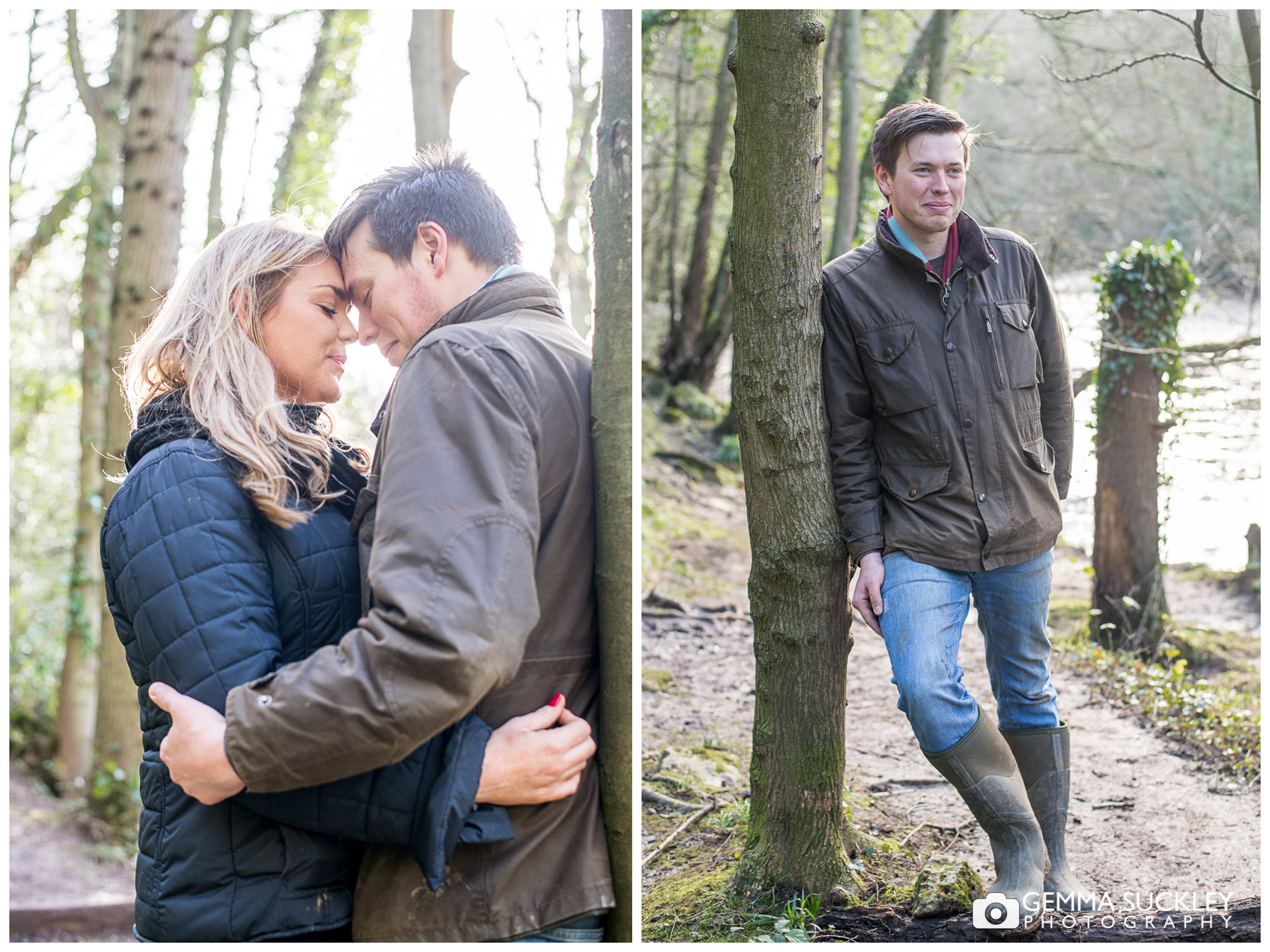 a couple hugging at Nidd Gorge