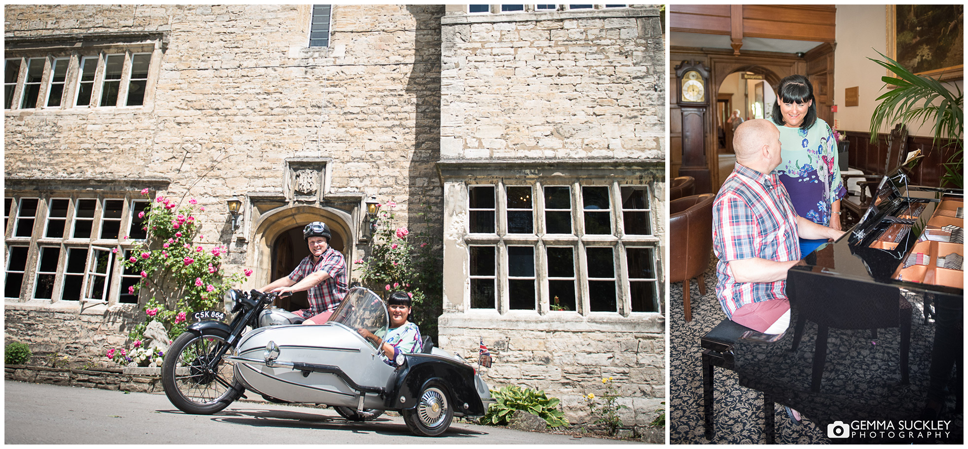Couple on their bike and side car in from of Monk Fyrston Hall, Yorkshire