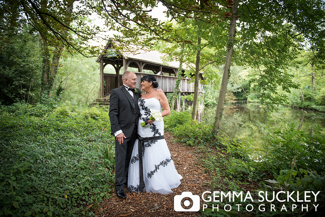 Bride and groom in Monk Fryston Hall in Yorkshire