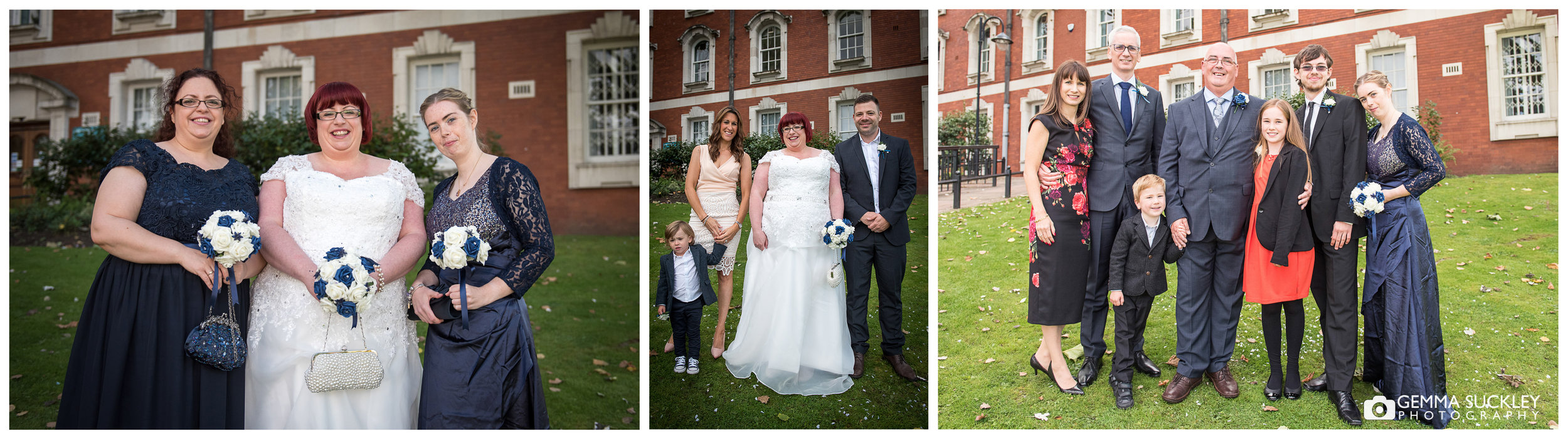 formal wedding photos outside Stockport townhall