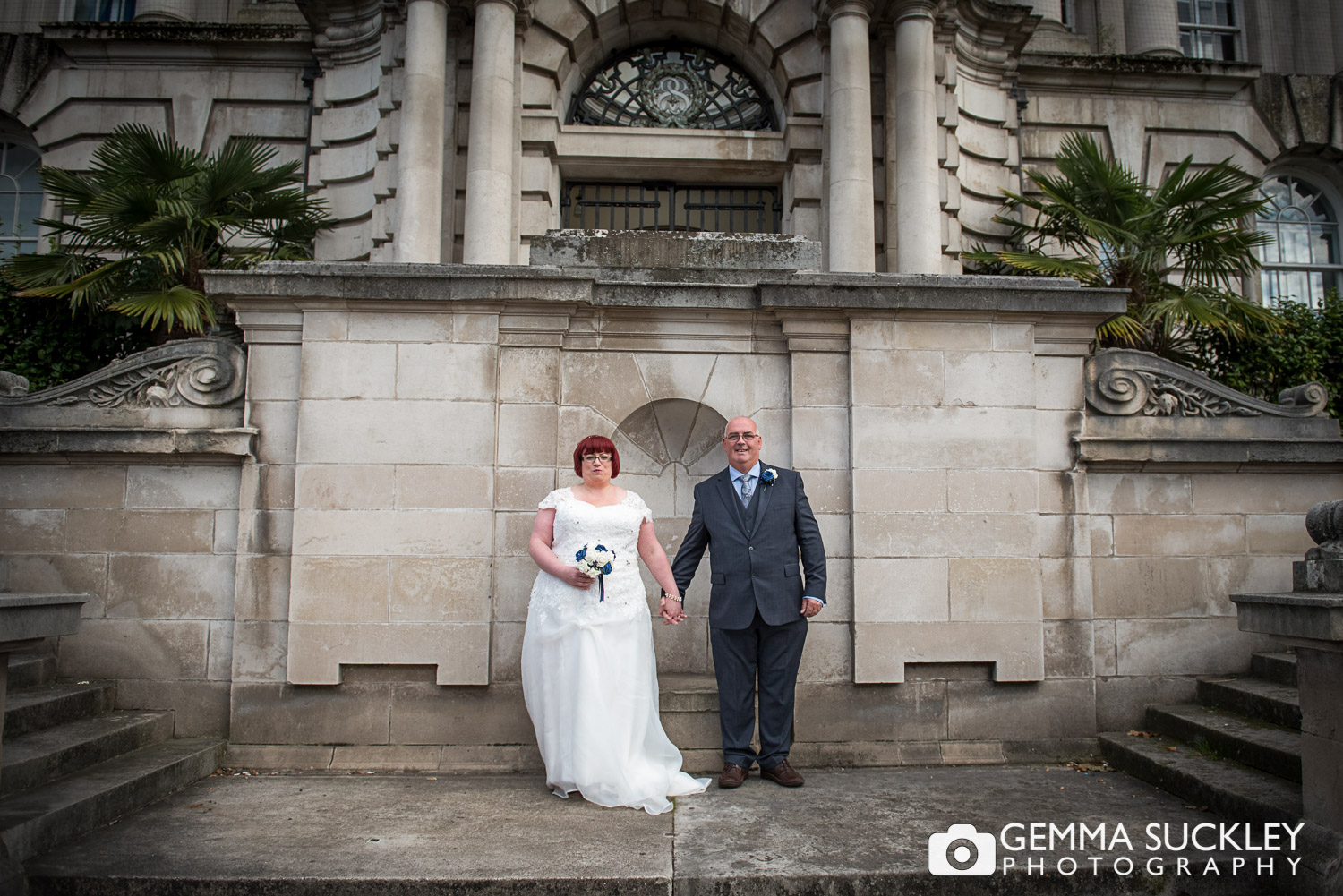 bride and Groom outside Stockport town hall