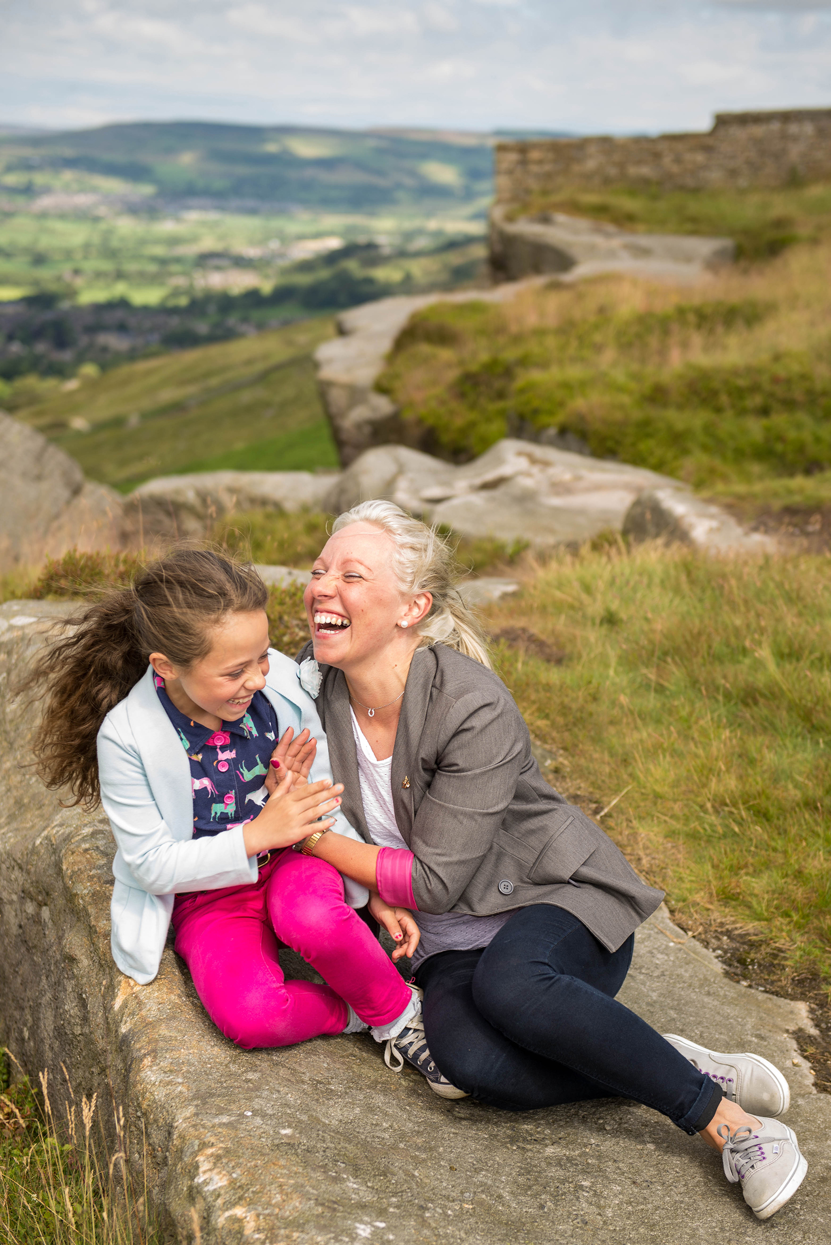 Copy of mum and daughter laughing at cowling pinnacle