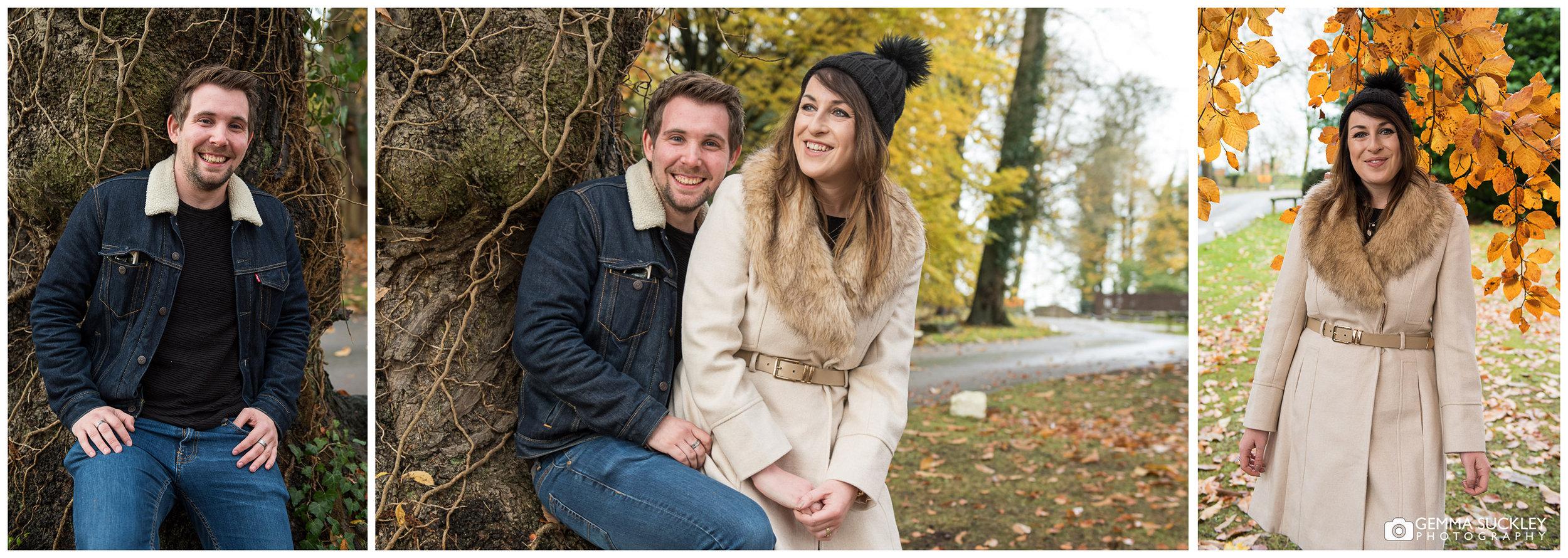 An engaged couple at Hazlewood castle