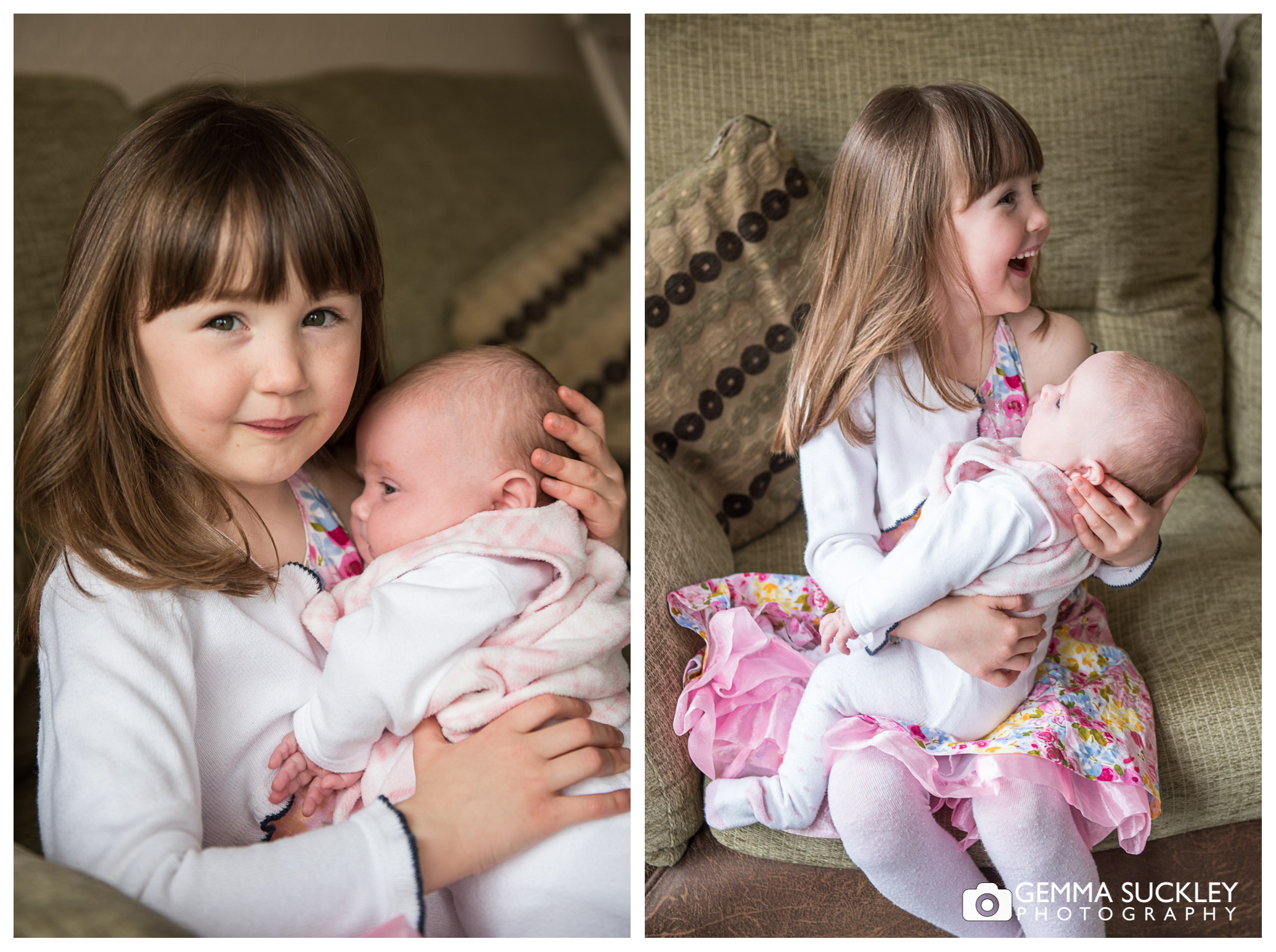 a photo of a little girl and her little baby sister
