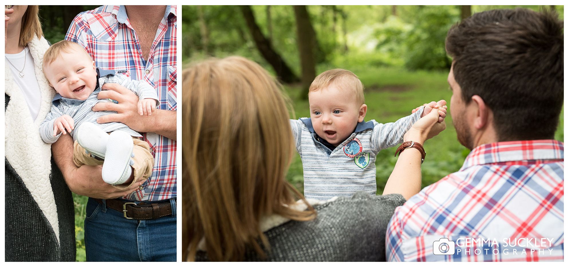 baby smiling on parents knee at Golden Acre Park