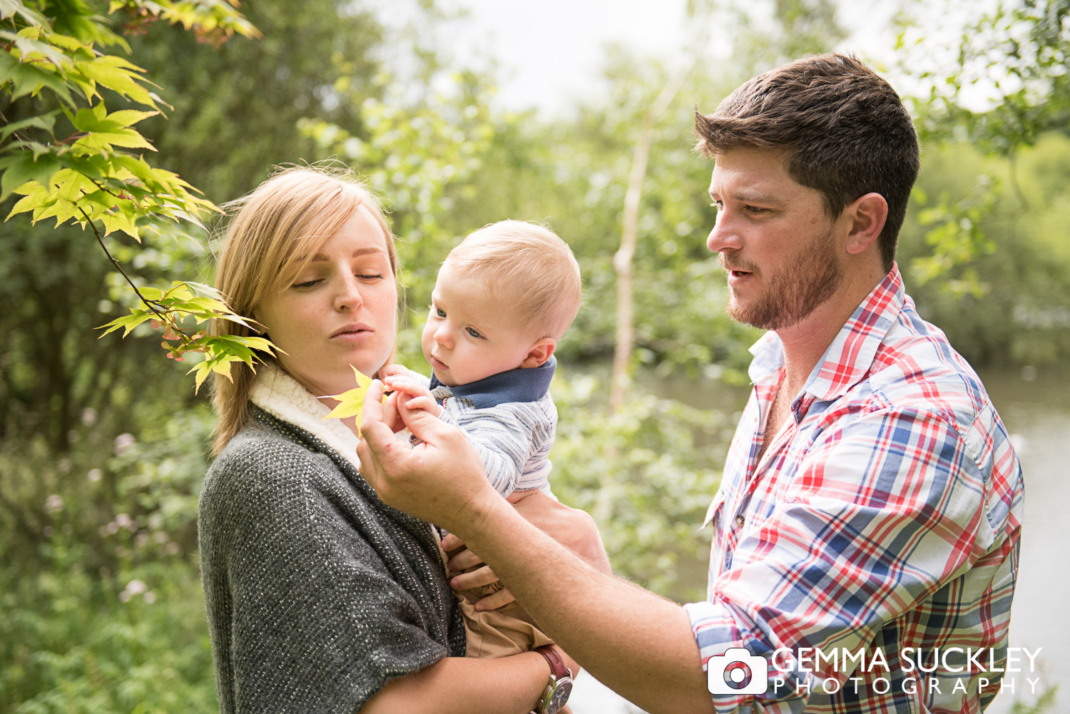 pre-wedding couple with baby at golden acre park in Leeds