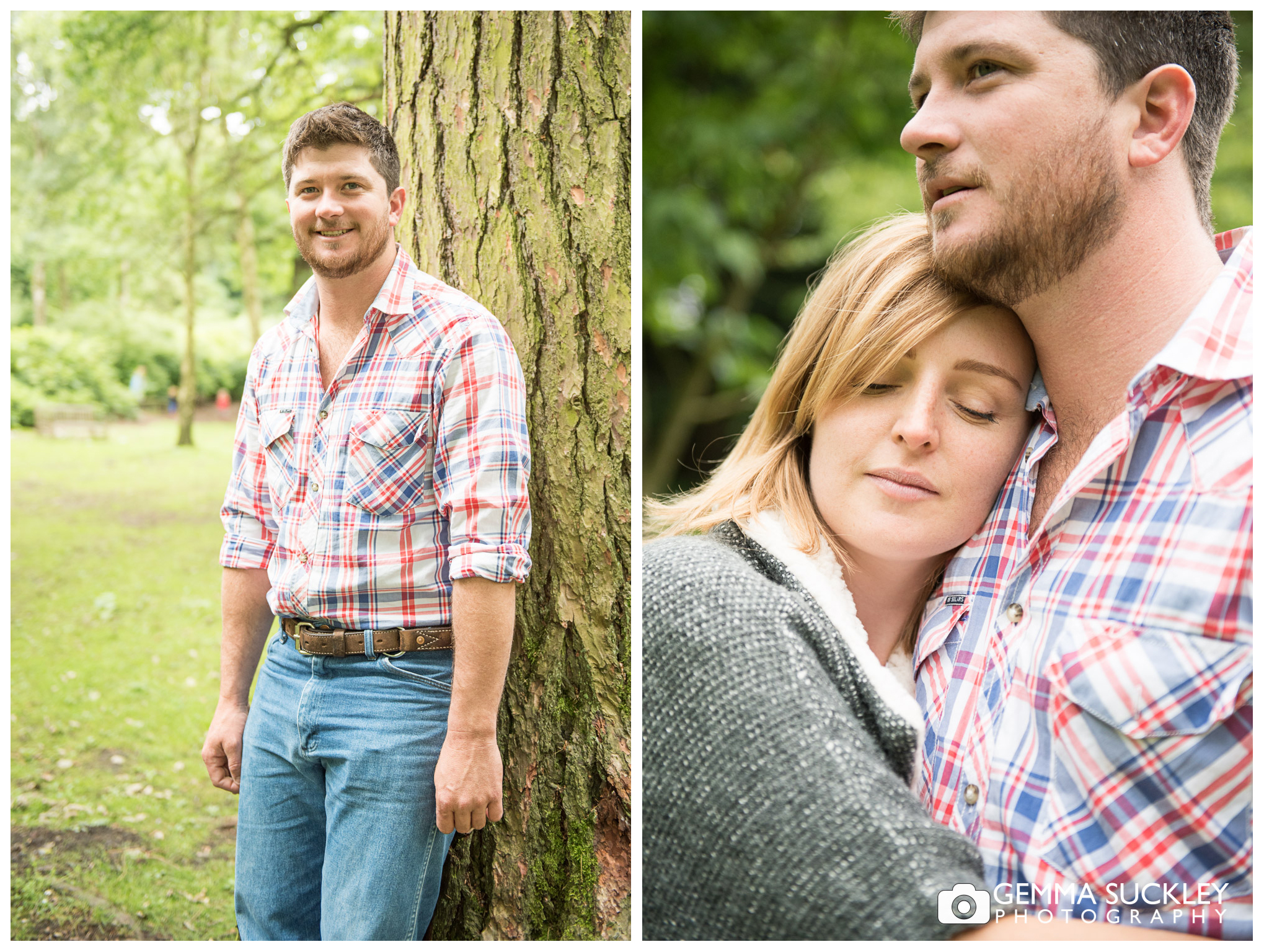 groom to be during engagement photo shoot in Leeds