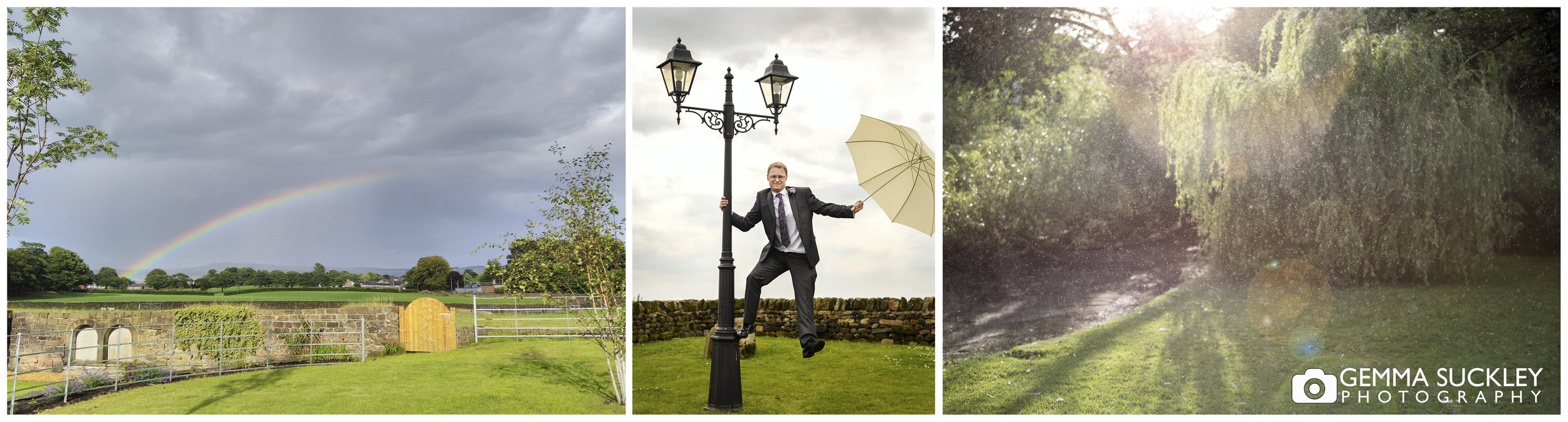 groom hanging off a lamp post with a umbrella in the rain