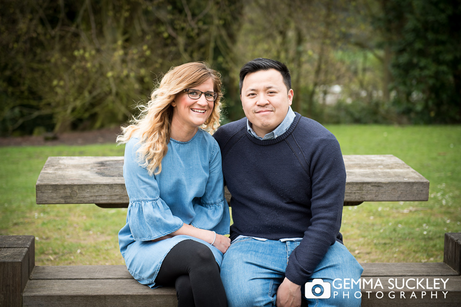 Engaged couple smiling at St ives in Bingley