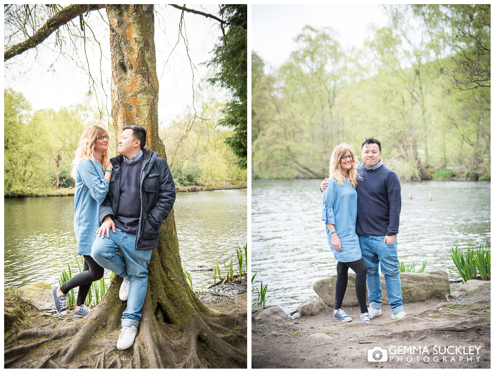 A couple on their engagement shoot in Bingley St Ives