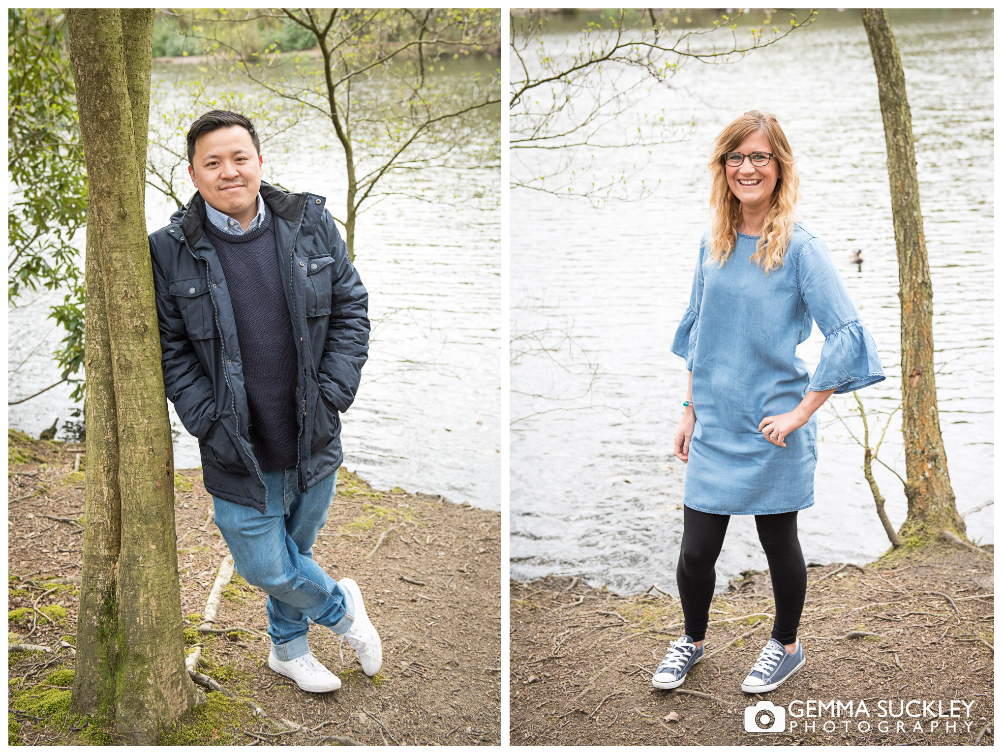 pre-wedding photos of a couple smiling in St Ives