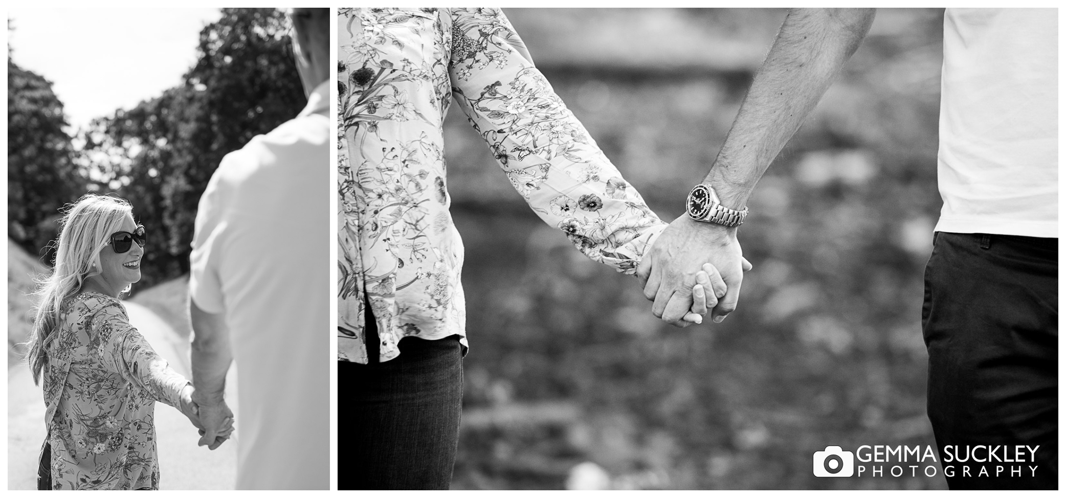 A couple on their engagement shoot at Harewood House