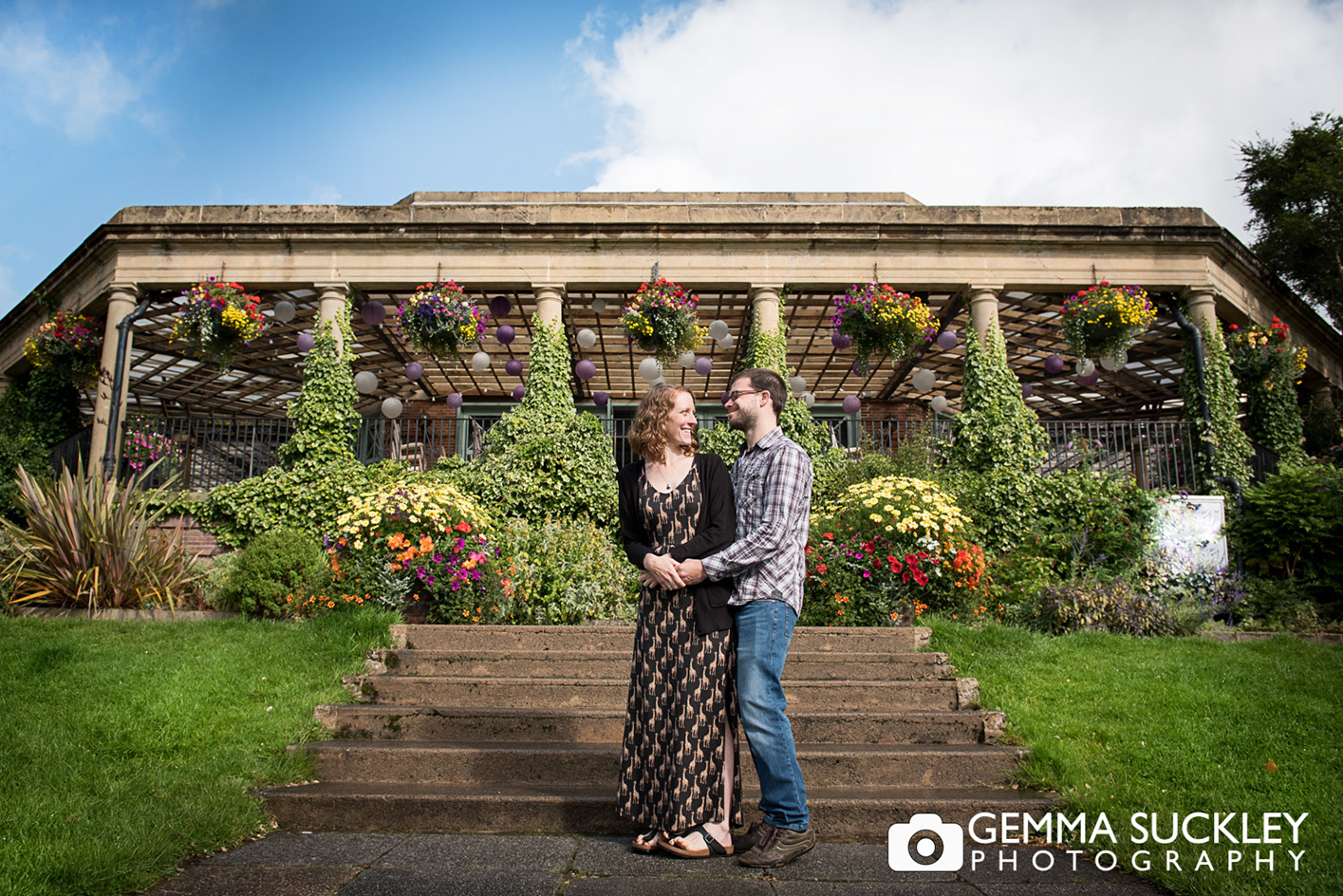Couple in front of the Sun Pavilion, Harrogate