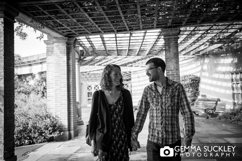 couple walking in harogate, sun pavilion