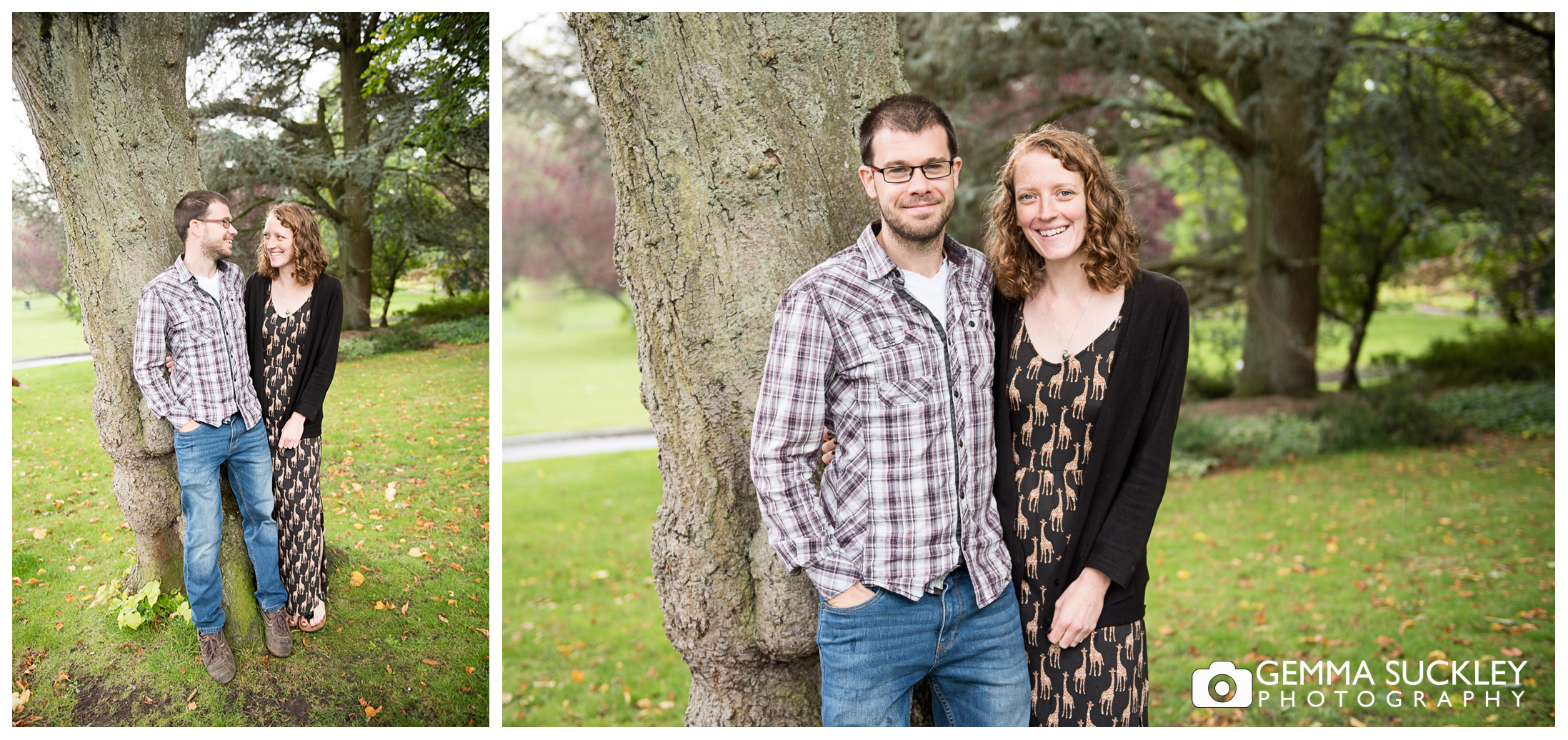 couple during their pre-wedding shoot in valley gardens in harrogate