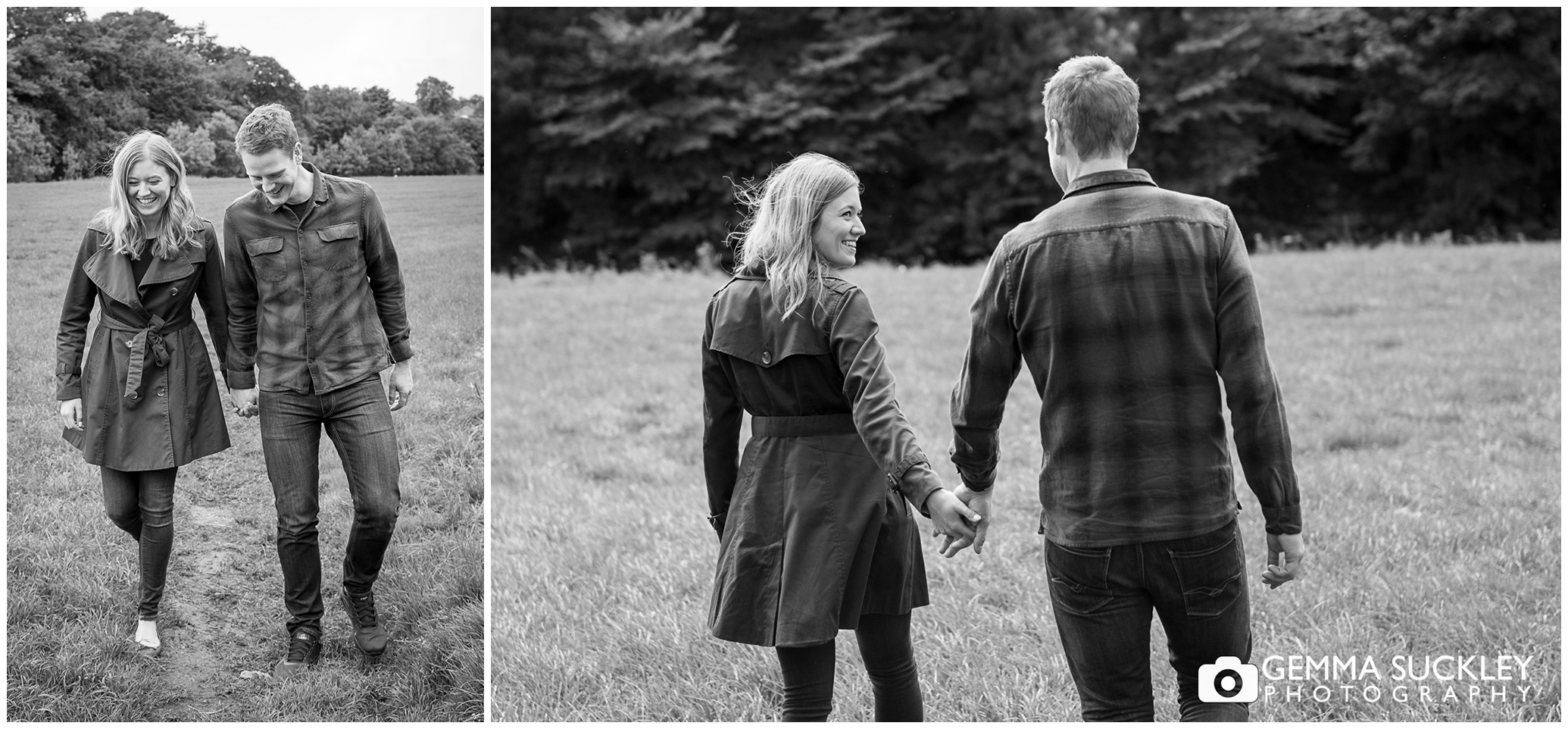 a couple during their engagement shoot walking in grassington