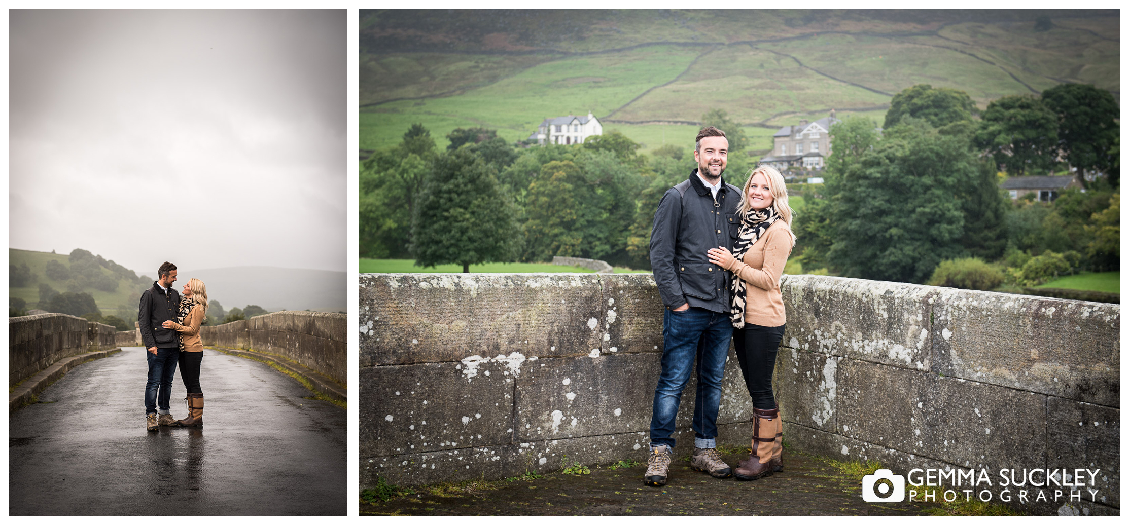 A couple on the bridge at Burnsall, North Yorkshire