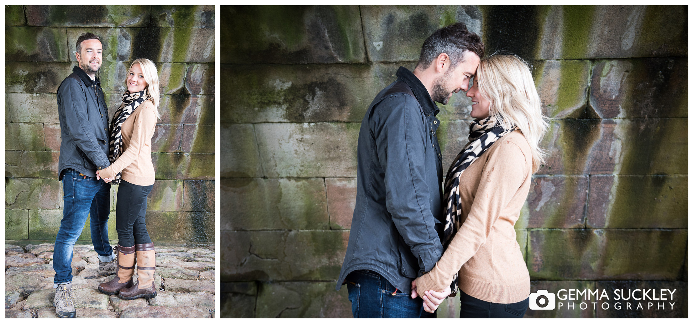 A couple under the bridge in Burnsall during their engagement photos shoot