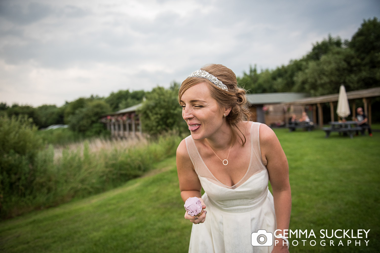 bride eating ice cream at oaklands in east yorkshire