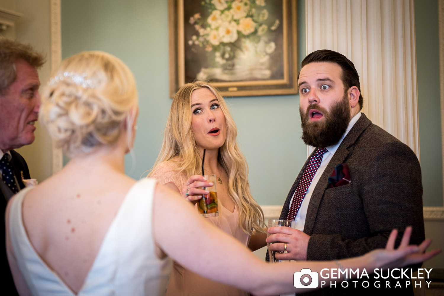 guests looking shocked during wedding at Denton hall