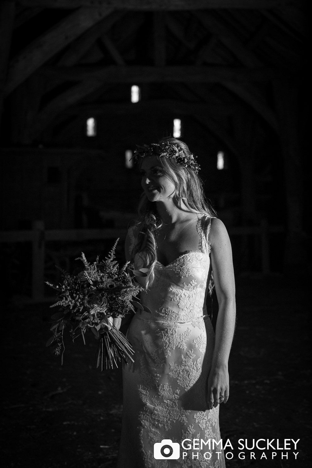shadowy photo of a bride at east riddlesden hall