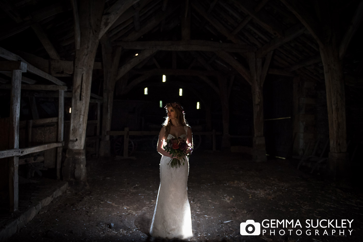 bride in the barn at east riddlesden hall