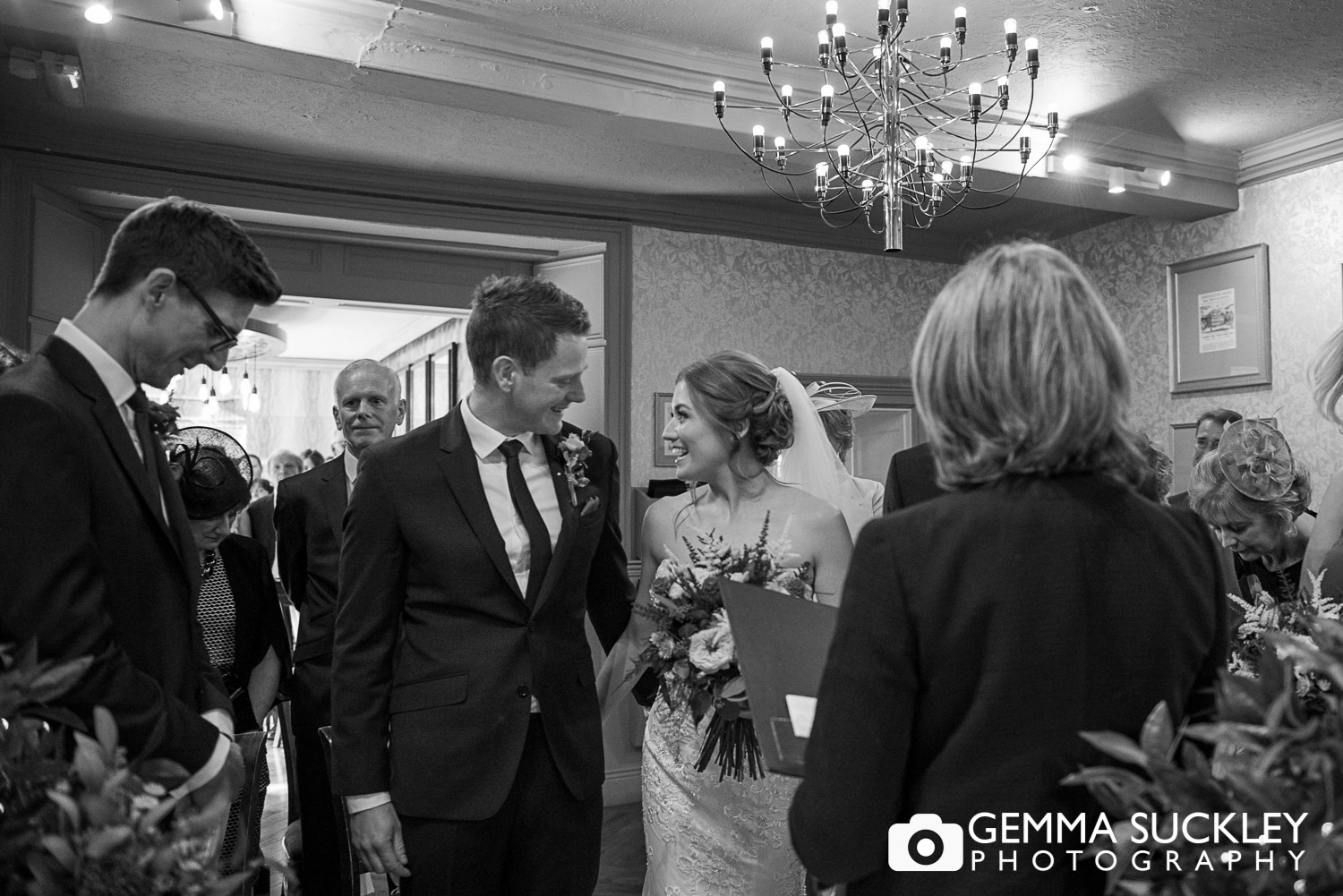bride and groom during ceremony at grassington house