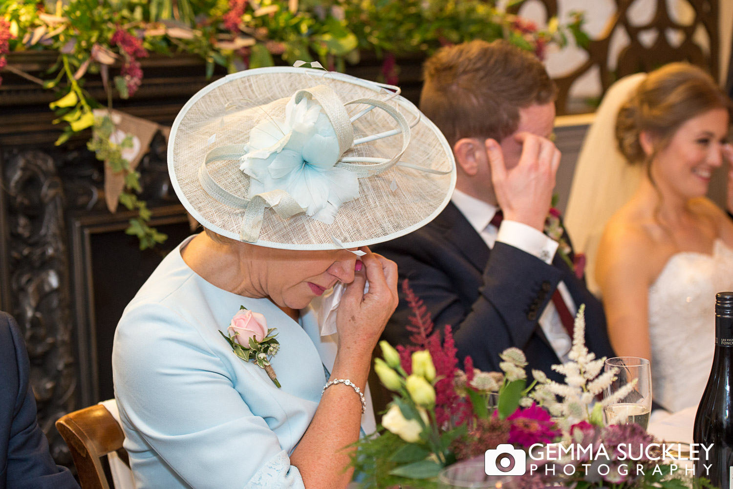 mother of the bride crying during speeches at grassington house