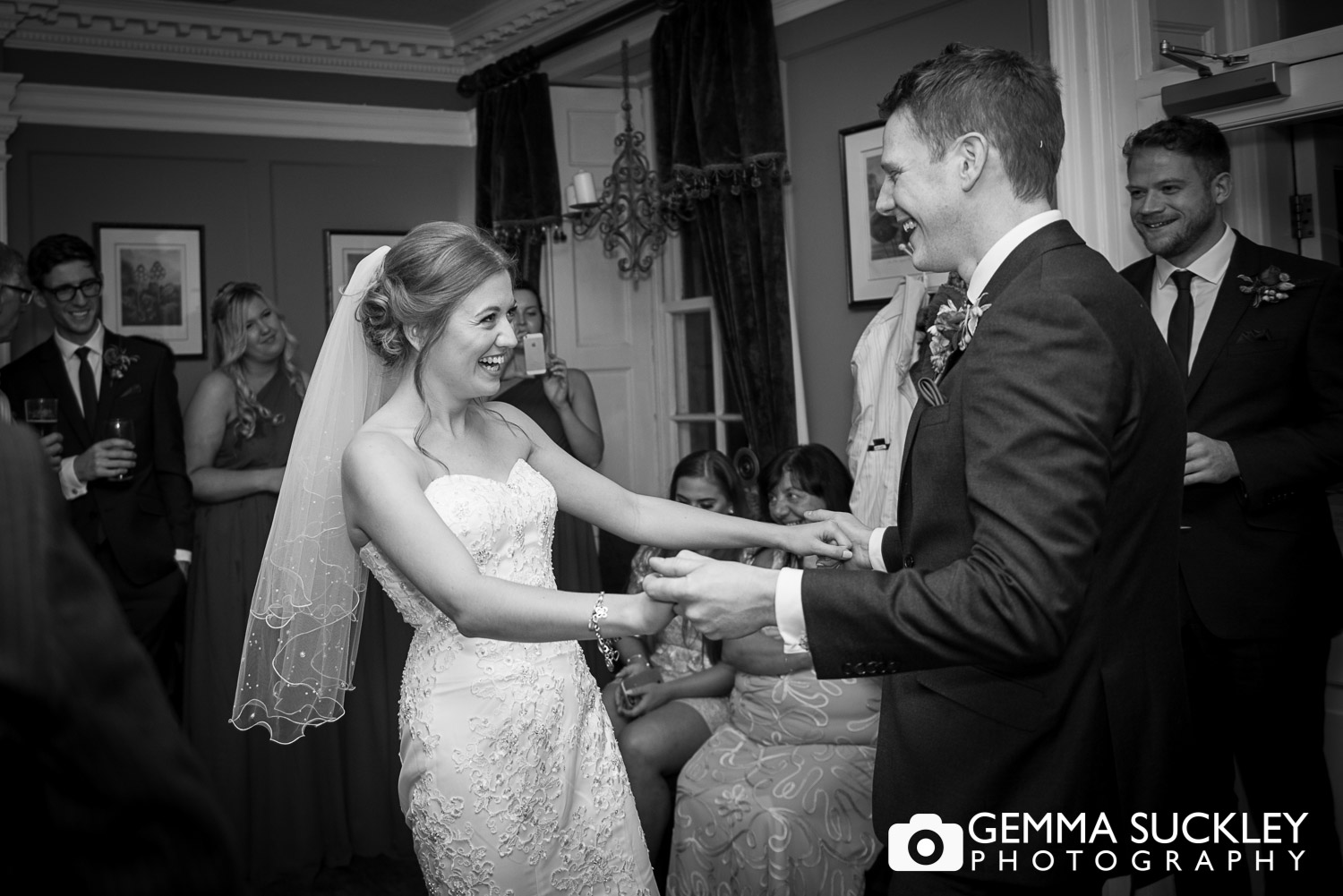 bride and groom dancing at grassington house